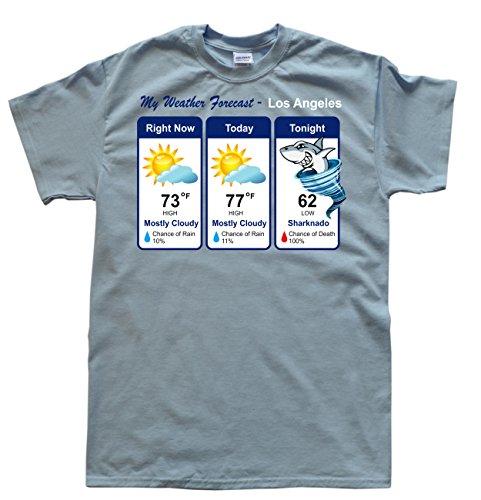 JeKAt Sharknado Weather Forecast Hellblau T-Shirt, Größe M