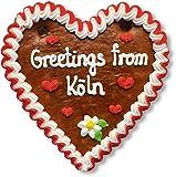 Lebkuchenherz 16cm mit Spruch - Greetings from Köln   Lebkuchen Geschenke & nette Grüße verschicken   International Grüße aus Köln versenden   Lebkuchenherzen online bestellen von LEBKUCHEN WELT