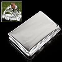 OriGlam 5 Pack Foil Supervivencia Rescate Manta de Emergencia, Supervivencia, Primeros Auxilios Manta térmica Reflectante, Impermeable Silver Senderismo de Primeros Auxilios