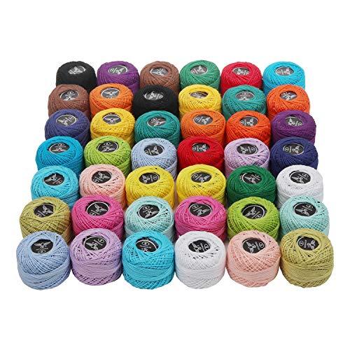 Filati cotone per uncinetto - 42 pezzi filati cotone - colori arcobaleno assortiti filati per cotone 1818 metri in totale - filato cotone uncinetto per ricamo, quilting, artigianato fatto a mano