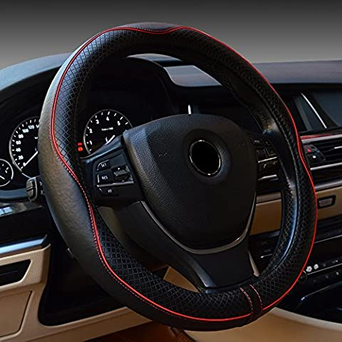 Leather Steering Wheel Cover,ECLEAR Universal 15 inch/38CM Anti-slip Car Protector - Black&Red