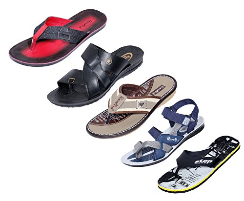 Indistar-Men-Step-Care-Comfortable-Flip-Flop-House-Slipper-And-Hawaai-Chappal-Office-Slipper-BlueGrey-Pack-Of-5-Pairs