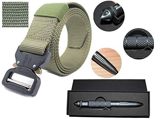 Preisvergleich Produktbild lemartin Nylon Militär Gürtel Schnalle mit Kubotan Tactical Pen robust und verstellbar Taktischer Military Design Metall 129cm (grün)