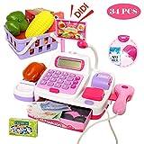 Buyger 34 Stück Elektronische Kasse Spielzeug Supermarkt Registrierkasse mit Scanner Mikrofon Rollenspiel Kaufladenzubehör für Mädchen(Rosa)