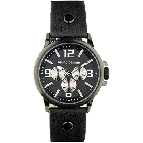 Bruno Banani Men's Trenos Leather Bracelet Watch With Black Quartz Dial schwarz Trend Watch UBR30029
