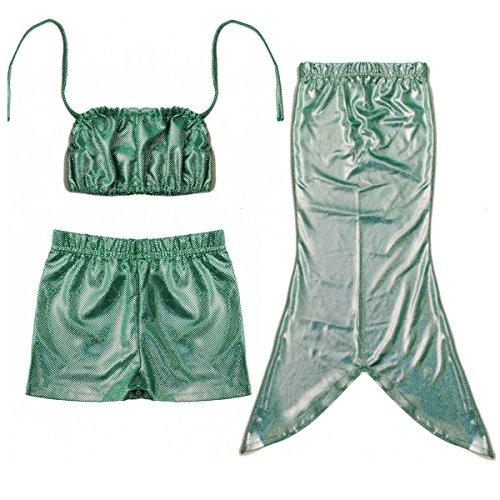 D'amelie Kinder Mädchen Meerjungfrau Schwanz Kostüm 3tlg. Badeanzug Bikini Set (Cinderella Kostüme Spielen)