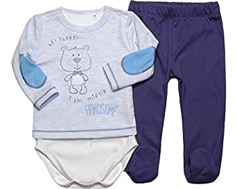 Be Mammy Body e Pantaloni Neonato Handsome 2102 (62, Blu Melange/Jeans)