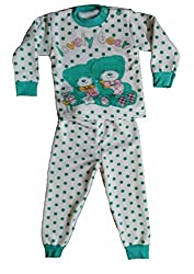 MISS U GIRLS FULL SLEEVES WINTERS NIGHT SUIT WITH INNER FUR (GREEN, 6-12 Months)