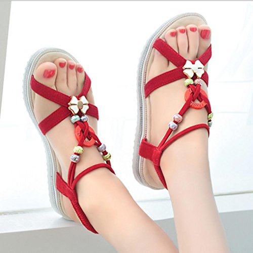 DM&Y 2017 versione coreana del perline testa piana dei sandali delle donne di pesce perline delle donne di estate e Pink
