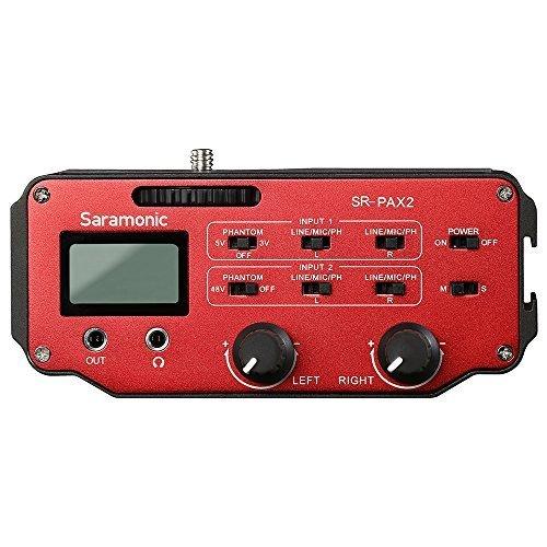 DSLR Vorverstärker, Audiomixer, Saramonic PAX2 Mikrofonadapter mit Phantomspeisung, zwei XLR-Buchsen, 6,3 mm, 3,5 mm Eingängen und 3,5 mm Ausgang für DSLR-Kameras, spiegellose Kameras oder Camcorder