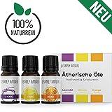 Ätherische Öle/Duftöl Set, Ätherisches Lavendelöl, Zitronenöl & Orangenöl für Diffuser, naturrein, Öl für Aromatherapie & Kosmetik, Essential Oil (3x 10ml), Lavendel, Orange, Zitrone