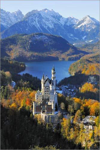Poster 60 x 90 cm: Schloss Neuschwanstein von Herbert Kehrer/Mauritius Images - hochwertiger Kunstdruck, neues Kunstposter (Schloss Poster Neuschwanstein)
