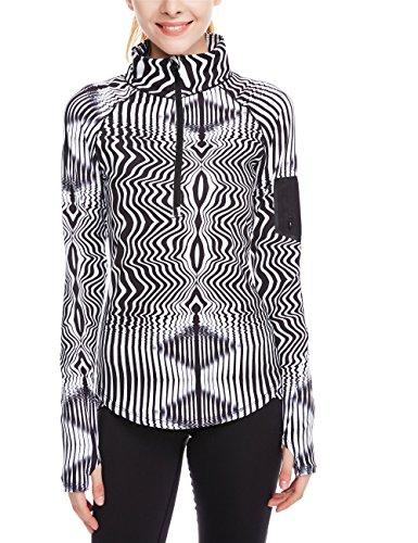 icyzone Damen Sport T-Shirt Langarm Laufshirt - 1/2 Reißverschluss Fitness Sweatshirt Laufjacke Running Tops (L, Zebra) - Zebra-bh-top -