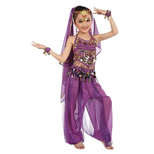 Lonshell Kinder Mädchen Tanzkostüme mit Münzgürtel Hüfttuch Bauchtanz Performance Kleidung Indian Ägypten Tanz Chiffon Tanzkostüme - Spanisch Jazz Kostüm