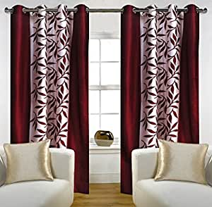 Home Candy Leaves 4 Piece Floral Polyester Door Curtain Set - 7ft, Maroon