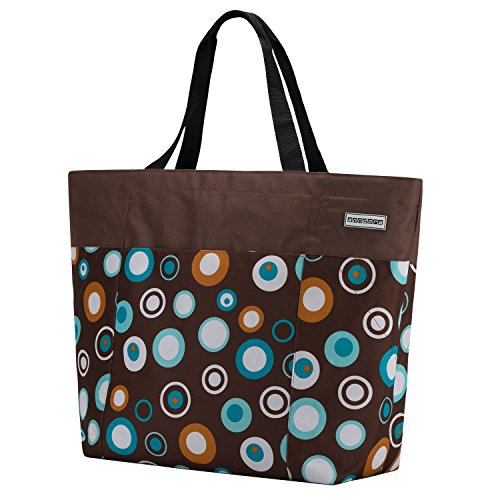anndora XXL Shopper braun hellblau - Strandtasche 40 Liter Schultertasche Einkaufstasche