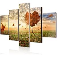 Vogue quadro su legno 5 pezzi Foglie Al Vento 66x115 cm