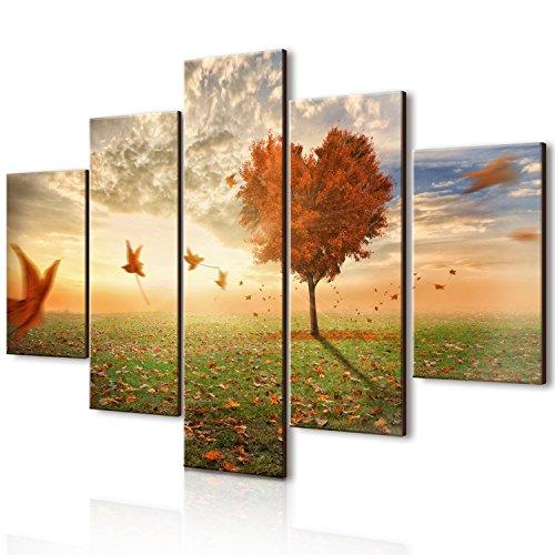 Lupia vogue quadro su legno 5 pezzi foglie al vento 66x115 cm