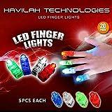 HAVILAH TECHNOLOGIES (Paquete de 20) Súper brillante led dedo luces, Colores - Rojo, Azul, Verde, Blanco Linterna de dedo para niños Artículos de fiesta para niños (Luz extra gratuita en el interior)
