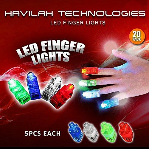 (Packung mit 20 Stück)  Super helle LED Finger leuchtet / Farben - Rot, Blau, Grün, Weiß / Kinder Finger Taschenlampe / Kinder Party Supplies. (Kostenloses Extra-Licht im Inneren) (Finger Taschenlampen)