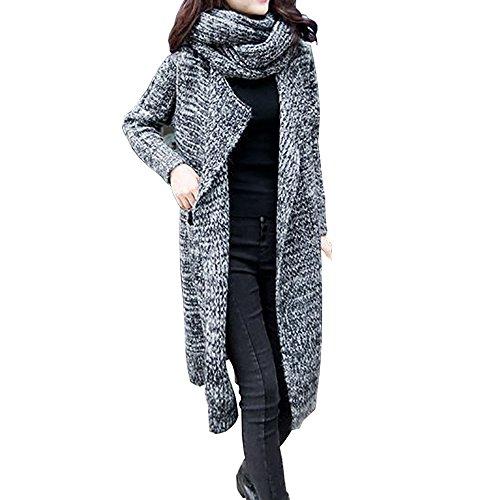 VJGOAL Damen Mäntel, 2 in 1 Damen Mode Langarm Übergroße lose Gestrickte Acryl Winter warme Schal-Kragen Pullover Strickjacke Mantel (Tief grau, One Size)