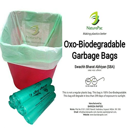 Garbage bags biodegradable premium small size 43 cm x 51 cm ,Trash bags / Dustbin bags/100% biodegradable tested garbage bags (180) by NATUREPAC