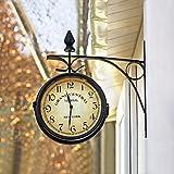GOPLUS Horloge de Gare Rétro Double Face Pendule Murale pour Intérieur & Extérieur Décorative Cadre en Fer 30 x 10 x 33 cm Résister aux Intempéries