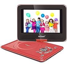 ieGeek Lettore DVD Portatile 12.5 Pollici regolabile, 5 ore Batteria ricaricabile, supporto schedeSD e pennette USB, avvio diretto di MP4/AVI/RMVB/MP3/JPEG, Rosso