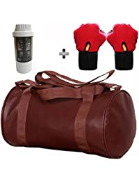 5 O' CLOCK SPORTS Gym Bag Combo Set Enclosed With Soft Leather Gym Bag For Men And Women For Fitness - Bag Size... - B079YBBDZS