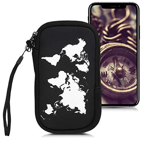 """Preisvergleich Produktbild kwmobile Handytasche für Smartphones M - 5, 5"""" - Neopren Handy Tasche Hülle Cover Case Schutzhülle - Travel Umriss Design Weiß Schwarz - 15, 2 x 8, 3 cm Innenmaße"""