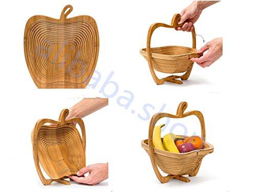Hot/new pieghevole in legno pieghevole frutta apple basket pieghevole frutta, in bambù