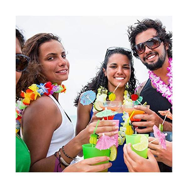 aovowog Hawaianas Guirnaldas Collares Pulseras Diadema y Tatuajes y Gafas de Sol de Piña Decoraciones para Fiestas en la…