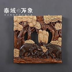 CACH Pared De Madera Tallada A Mano Estilo Asiático Artes Elefante Tallada Paneles De Madera