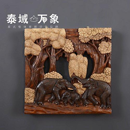 CACH Parete In Legno Intagliato A Mano In Stile Sud-Est Asiatico Artigianato Elefante Scolpito Pannelli In Legno