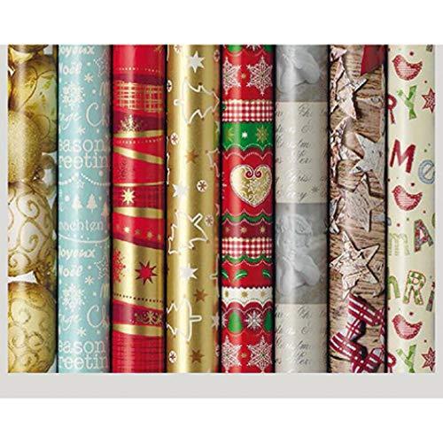 5 Rollen Weihnachtsgeschenkpapier, Geschenkpapier Weihnachten pro Rolle 2 m x 0,70 m unterschiedliche Muster und Farben (5 Stück)