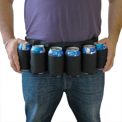 6 Bier Kostüm Pack - BigMouth Inc Biergürtel Schwarz