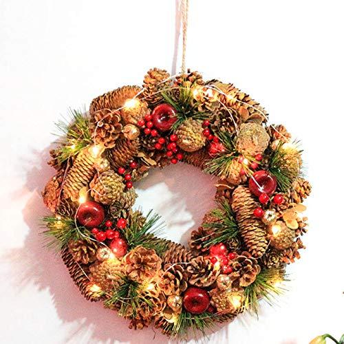 Zygeo - D13.7 Pinecone Kranz Weihnachtskranz Hochzeit Dekoration Hauptdekor Berry Apple-Herbst-Ernte-Dekor Gold-Handwerk-Aufhänger [Mit Licht] -