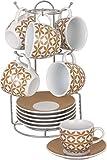 Borella Casalighi Mantova Juego de café con plato y perchero, Porcelana, Marrón, 13Unidad