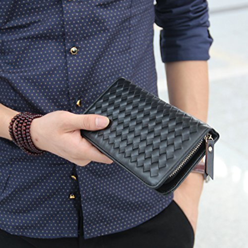 Die ursprüngliche Konzeption der Männer lange gestrickt Leder Tasche Handtasche, schwarz Black