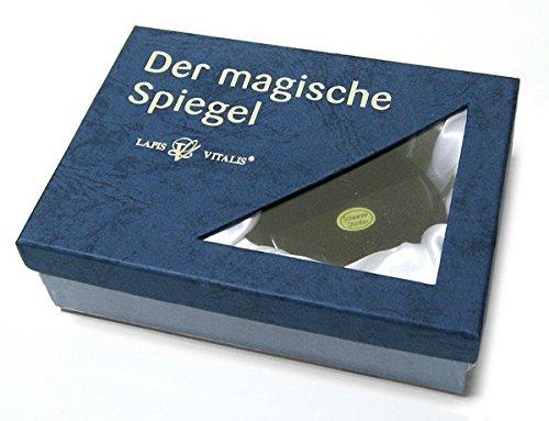 Der magische Spiegel - Meditations-Set mit einem Obsidian Spiegel ca. 7-8cm, passendem Ständer, Bergkristall und Begleitheft von Klaus Hüser in schöner Lapis Vitalis Box