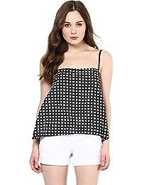 f7a5d845e91a88 Roving Mode Women s Checkered Square Neck Spaghetti Top