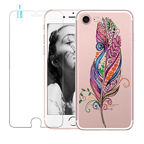 Coque iPhone 5/5S/SE avec film protecteur d'écran en verre trempé, Blossom01Ultra mince souple en gel TPU Coque de protection en silicone avec motif de plumes pour iPhone 5/5S/SE iPhone 5 / 5S / SE # #08