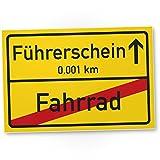 Führerschein (Fahrrad) Schild, Ortsschild - Geschenk zur bestandenen Führerscheinprüfung / Fahrprüfung - Führerscheinneulinge - Glückwunsch KFZ / Auto Führerschein