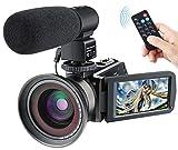 Besteker 1080p Caméscope HD 30FPS, Caméra Vidéo Numérique Vision Nocturne Infrarouge 24MP 16X zoom Caméra HD avec Télécommande et Microphone Externe et Objectif à Grand Angle