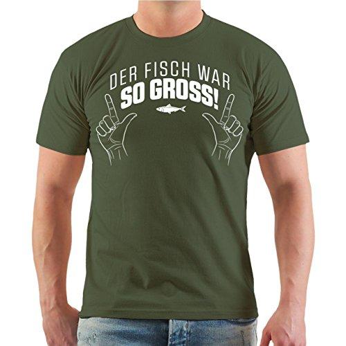 Männer und Herren T-Shirt Der Fisch war SO GROSS Größe S - 8XL Olive