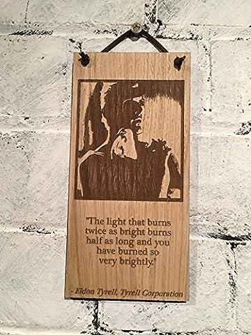 """Blade Runner Roy Batty Shabby Chic Zeichen """"Das Licht, die Brenndauer doppelt so helle Burns Halb so lang und Sie verbrannt haben so sehr hell"""" Zitat Dr. Eldon (Tyrell."""