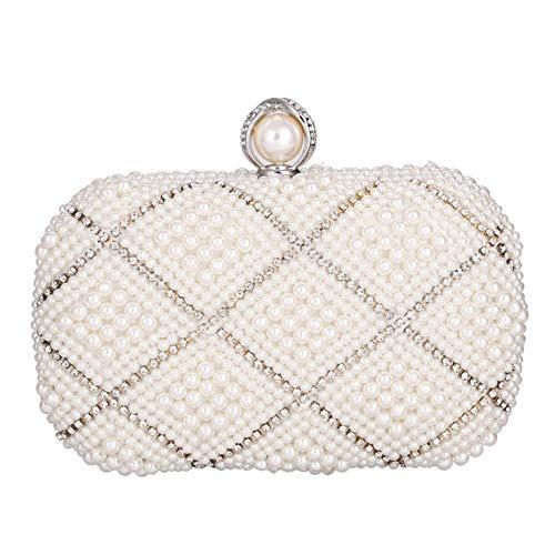 Luxus Strass Imitation Perle Diamant Kreuzmuster Abendtasche Kette Schulter Breite Diagonale Brieftasche Hochzeit Braut Kleid Geschenk Clutch Bag Lady 17 * 7 * 13cm Mode ( Farbe : Beige (Großhandel Womens Kleider)