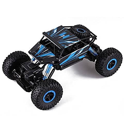 Sound Vision 2.4G RC Remote Control Toy Hobby Rock Crawler Monster Truck 1:18 Off Road Vehicle 4WD Fast RTR Race Car Blue