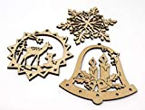 molinoRC 3X Fensterbild Holz | Holzanhänger | Weihnachtsschmuck | Christbaumanhänger | Holz Anhänger | Fensterdeko Weihnachten | Set 2 Schneeflocke + Rentier + Stern mit Glocken | 8cm Durchmesser