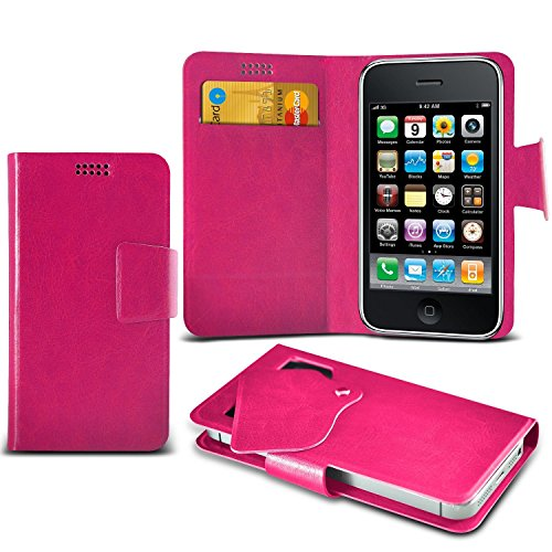 ( White +Earphones) Case for iPhone 7 Mobile Phone case cover pouch High Quality Thin Faux Leather Suction Pad Wallet case Cover Skin With Credit/Debit Card Slots With Premium Quality in Ear Buds Ster Suction wallets (Pink)